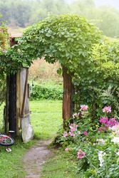 Garden gate open magic retro style rustic