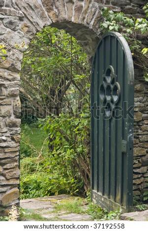 Garden gate set into a wall