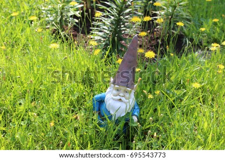 Garden gnome in tall overgrown lawn with dandelions 2