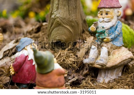 Garden gnomes - stock photo