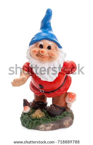 Garden Gnomes isolated on white background, simple figurines to decorate your garden, saying welcome