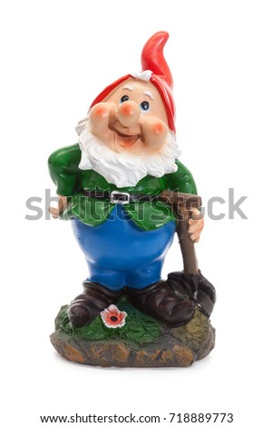 Garden Gnomes isolated on white background, simple figurines to decorate your garden with spade Photo stock ©