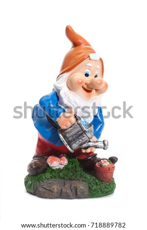 Garden Gnomes isolated on white background, simple figurines to decorate your garden, with watering can