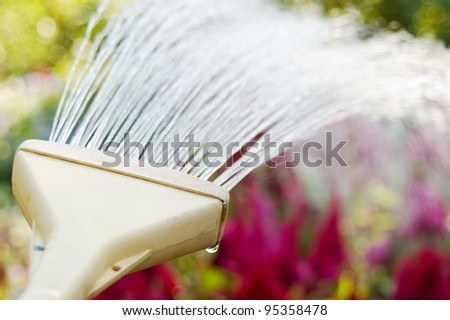 Garden hose watering the garden - stock photo