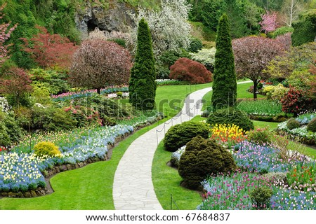 garden in spring, victoria, british columbia, canada