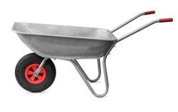 Garden metal wheelbarrow cart isolated on white