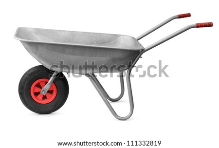 Garden metal wheelbarrow cart isolated on white