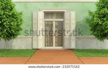 Garden of an old house with closed window and shutter - 3D Rendering