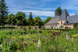 Garden of Cheverny Castle. Cheverny is located between Blois and Chambord and a few kilometers below Cheverny village, UNESCO World Heritage Site.