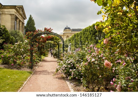 Garden Of Roses In The Jardin De Plant In Paris, France. Eastern Part Of The Garden With It\'S Beautiful Rose Archways In June.