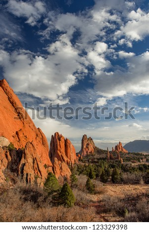 Garden of the Gods in late afternoon in Colorado Springs, Colorado