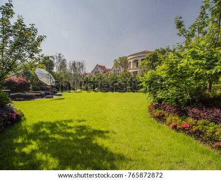 Garden of villas, landscape greening of residential quarters