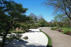 Garden park arranged in Japanese zen style at Missouri Botanical garden -Saint Louis, United States