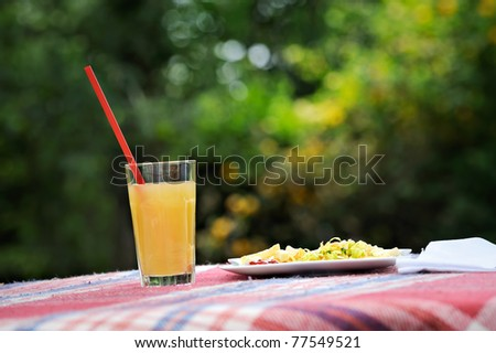Garden party - table served with drink and food