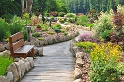 Garden path, beautiful park