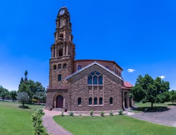 Garden pathway of NG Kerk Dutch Reformed Church built from sandstone in Winburg Free State South Africa