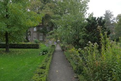 Garden pathway with lush foliage and house. Vanishing point. Summer.