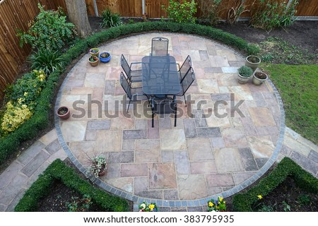 Garden patio from above