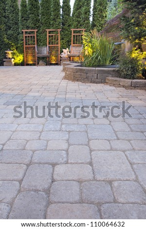 Garden Paver Patio with Trellis Japanese Stone Lantern Pagoda Waterfall Pond and Landscaping Lights