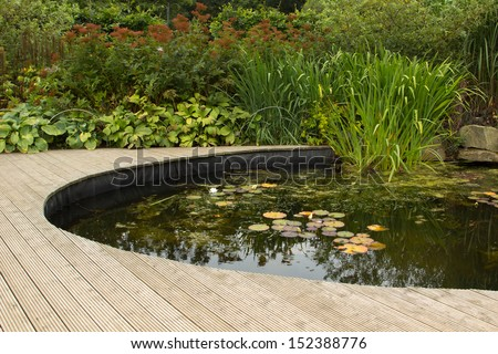 garden pond with decking