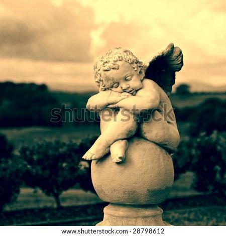 Garden Sculpture in Sepia