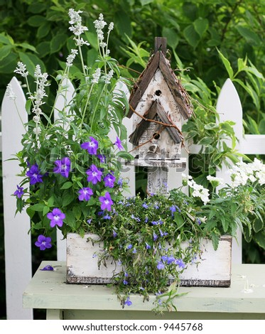 garden setting with birdhouse with flowers and plants