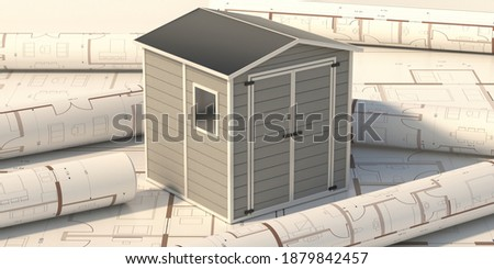 Garden shed on project blueprint background. Gray color prefab gardening tools storage shed in the house backyard. 3d illustration