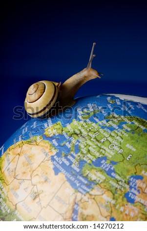 Garden snail travelling around the world on a globe
