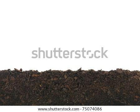 Garden soil isolated against a white background