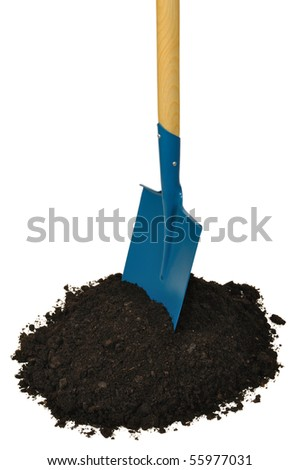 Garden spade isolated on white background - stock photo