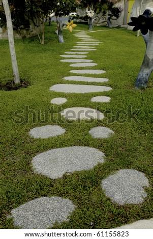 garden stone path with grass. thailand