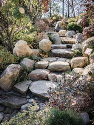 Garden stone stairs walking path