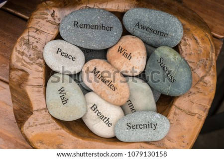 Garden Stones, Rocks with Motivational Words Inscribed on them, Miracles, Peace, Wish, Success, Remember, Awesome, Serenity. #1079130158