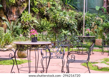 Garden Table and Chairs in the garden