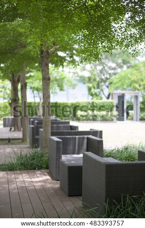 Garden table and chairs under the tree  #483393757