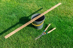 Garden tools bucket, ruler, garden scissors lie on the green grass illuminated by the sun