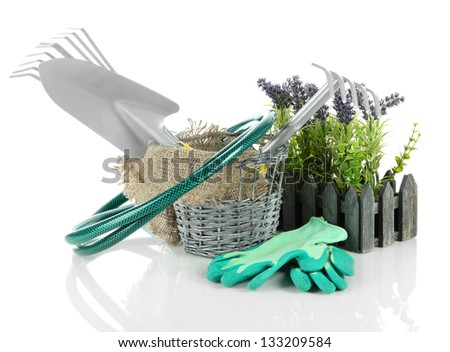 Garden tools isolated on white