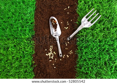 Garden tools on earth with green grass
