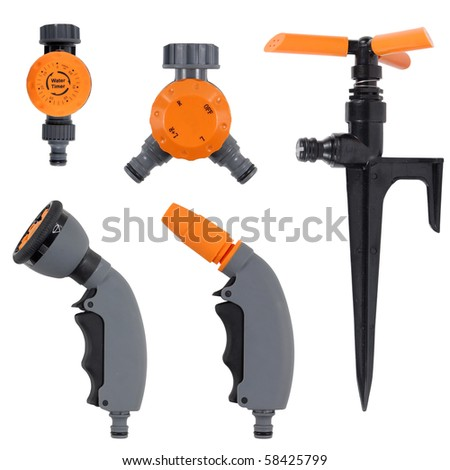 garden tools set isolated over white background