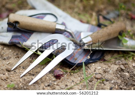 Garden tools: stainless steel trowel and rake and a pair of gloves.