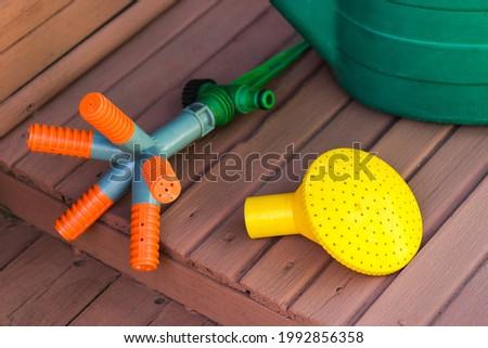 Garden tools. Watering can. Equipment for watering the garden.