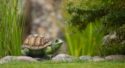 Garden toy, turtle, on the green grass of the back yard