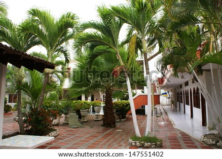 Garden view with trees,  patio  in summer resort (Tolu,Colombia)