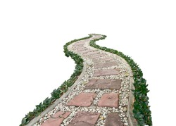 Garden walkway covered with stone isolated on white background. This has clipping path.