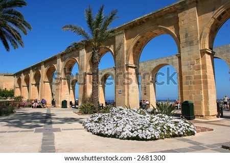 Garden with arches on Valleta, Malta