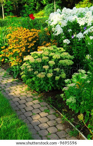 Garden with paved path and blooming flowers in late summer