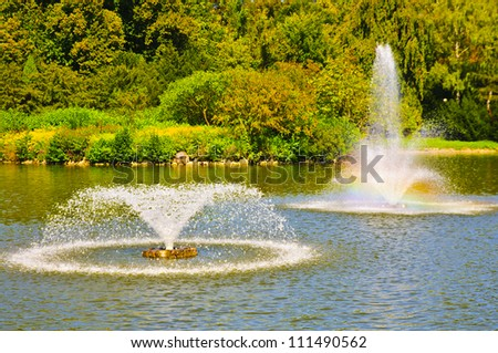 garden with pond and fountain - stock photo