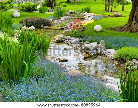garden with pond in asian style