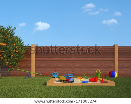 Garden with sandpit and playground for children - rendering