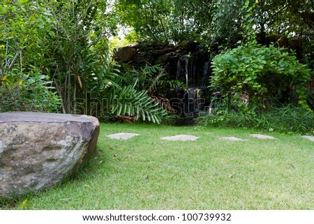 garden with stone path